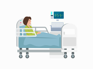 Woman on Hospital Bed Icon Vector Illustration