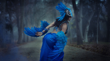 Gothic beautiful brunette girl in a suit made of blue wires, bears bird wings and colorful feathers helmet
