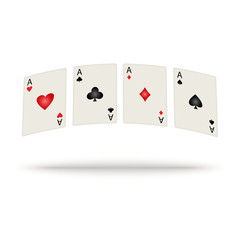 Colored playing cards with shadow. Vector illustration