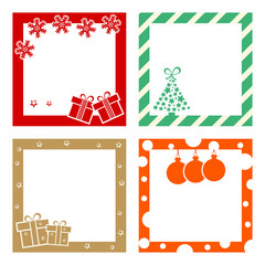 Colorful festive frame with gift boxes, christmas tree, snowflakes, christmas ball and stars for Christmas, New Year's Day. Vector illustration