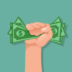 Hand holding money. Dollars, cash, money exchange concepts. Vector illustration.