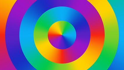 Colorful abstract wallpaper consisting of bright gradient colored circles. Color wheel. Fun, bright, cheerful color background. Color spectrum RGB art.