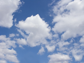 Blue sky with fluffy white clouds in day light