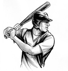 Baseball player. Ink black and white drawing