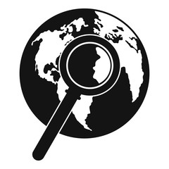Magnifier on earth icon. Simple illustration of magnifier on earth vector icon for web