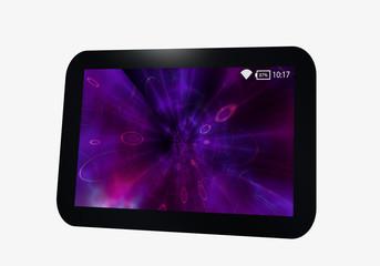 Tablet in schwarz mit violettem display.
