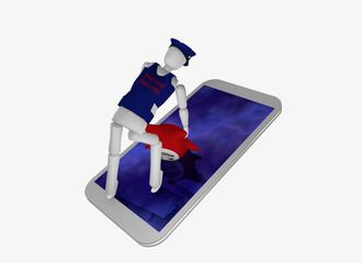 Handy in weiß, auf dem ein Schutzmann steht und einen Internetvirus aus dem Display zieht.