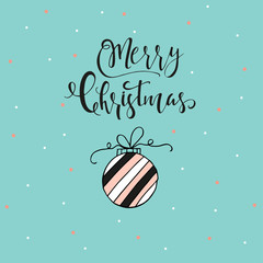 Merry Christmas cute greeting card with hand drawn lettering