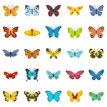 Butterfly icons set. Flat illustration of 25 butterfly vector icons isolated on white background
