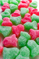 bell shaped gumdrops candy red and green
