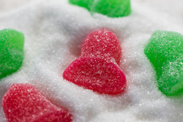 bell shaped gumdrops candy red and green closeup