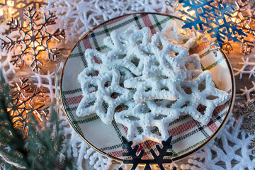 Christmas white chocolate pretzels with decorations