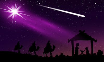 Christmas of Jesus and comet in the night starry sky