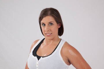 Woman sweating after exercising