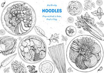 Asian food engraved sketch. Noodle dishes top view frame. Food menu design with cooked noodles . Vintage hand drawn sketch vector illustration. Asian cuisine menu background.