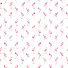Colorful pink flamingo isolated on white background. Seamless pa