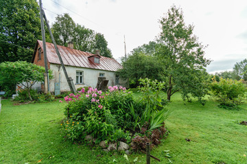 country house in the garden