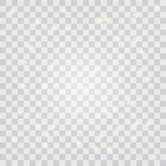 Glitter and glow on transparent Background. Vector Illustration.