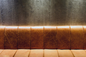 Brown Vintage Leather Couch at Night