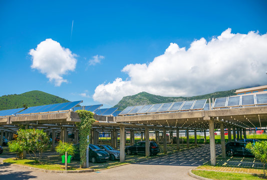 MONTENEGRO, BUDVA - May 30/2017: employees parked their cars under solar panels on the territory of the power plant.
