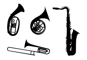 Sticker on car: Silhouette of musical instruments. for people wi