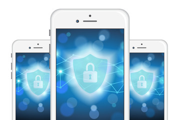 Internet Cyber Security Mobile Phone Vector Illustration 1
