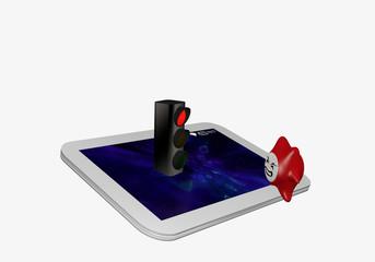 Tablet in weiß, auf dem eine rote Ampel steht und davor ein Computervirus.