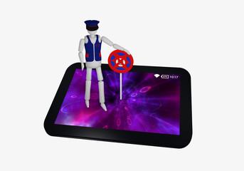 Tablet in schwarz, auf dem ein Antivirus Schild und ein Sicherheitsbeauftragter steht