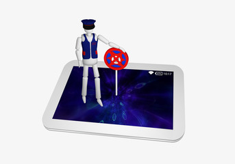Tablet in weiß, auf dem ein Antivirus Schild und ein Sicherheitsbeauftragter steht.