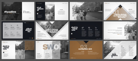 Gold black minimal presentation templates elements on a white background. Vector infographics. Use in Presentation, flyer and leaflet, corporate report, marketing, advertising, annual report, banner.