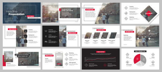 Red black minimal presentation templates elements on a white background. Vector infographics. Use in Presentation, flyer and leaflet, corporate report, marketing, advertising, annual report, banner.