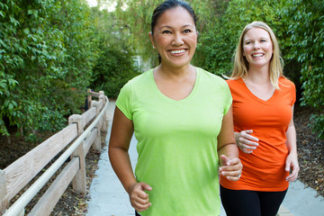 Healthy women exercising and getting fit.