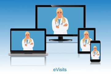 Doctor appointment, online visit, vector illustration