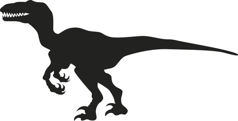 Vector silhouette of a velociraptor dinosaur