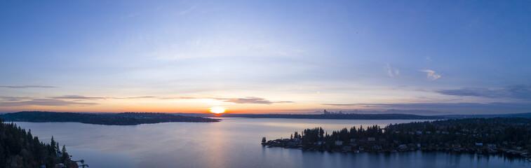 Lake Washington Panoramic View From Bellevue to Seattle