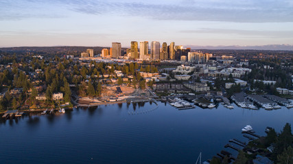 Panoramic Aerial Landscape View of Bellevue Washington Waterfront City Skyline