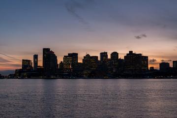 Night Fall in Boston Massachusetts