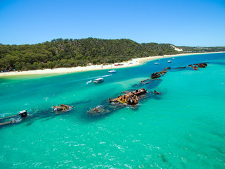 Acrylic Prints Shipwreck An aerial view of the Shipwrecks on Moreton Island, Queensland, Australia