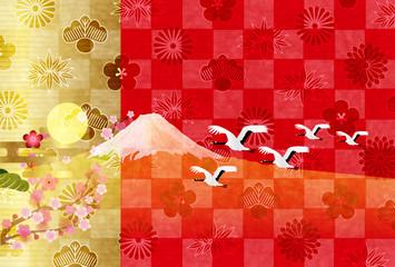 富士山 年賀状 梅 背景