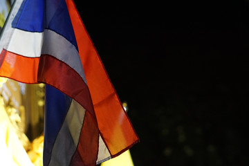 thai flag banner waving in the night