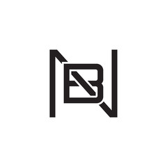 Initial letter N and B , NB, BN, overlapping B inside N, line art logo, black monogram color