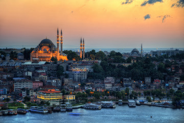 Istanbul Aerial with Blue Mosque and Hagia Sophia