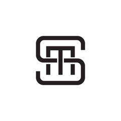 Initial letter S and M, SM, MS, overlapping M inside S, line art logo, black monogram color