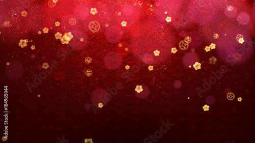 red chinese new year celebration texture digital background with falling cherry blossoms and sparkling particles