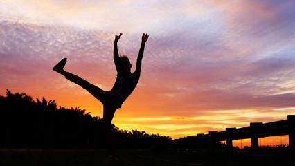 having fun during sunset