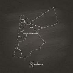 Jordan region map: hand drawn with white chalk on school blackboard texture. Detailed map of Jordan regions. Vector illustration.