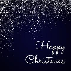 Happy Christmas greeting card. Amazing falling stars background. Amazing falling stars on deep blue background. Gorgeous vector illustration.