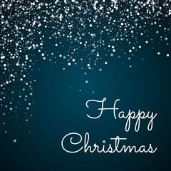 Happy Christmas greeting card. Random falling white dots background. Random falling white dots on blue background. Gorgeous vector illustration.
