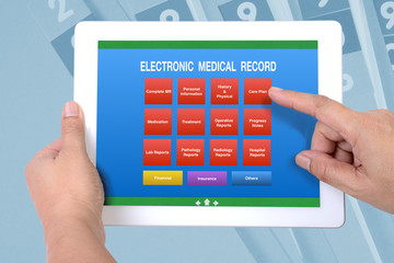 Wall Mural - Menu screen of electronic medical record on tablet.