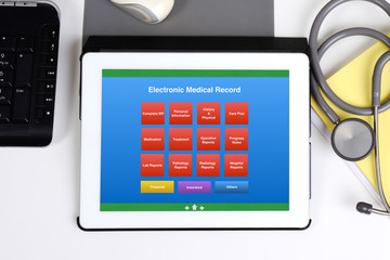 Wall Mural - Electronic medical record display on tablet computer screen.